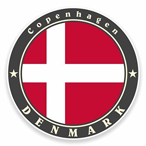 Preisvergleich Produktbild 2 x Kopenhagen Dänemark Flagge Vinyl Aufkleber Aufkleber Laptop Auto Reise Gepäck Label Tag 9496 - 10cm / 100mm Wide