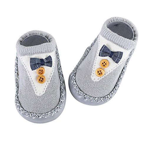 KaloryWee KaloryWee21, Baby Jungen Lauflernschuhe Gr. 0-6 Monate, Z Button Grey (Button Baby Schuhe)