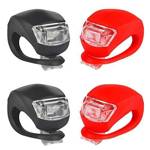 TBoonor LED Lampe Licht LED Sicherheitslicht LED Kinderwagen Set Silikon Leuchte Kinderwagen 4 Stück Kinderwagen(2X LED Weißlicht & 2X LED rotlicht) Blinklicht Taschenlampe (4 Stück) (4 Pcs)