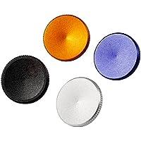 Neewer 4-Pieza Set De 15MM Suave Botón de Metal de Disparador (Negro, Azul, Naranja y Plata) Para Fuji Leica Canon Nikon Hasselblad Olympus Pentax Minolta