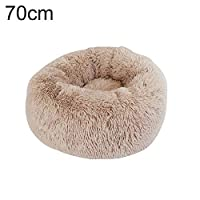 tailor13me Winter Warm, Soft, Dog Puppy Cat Cave Sleeping Bed Warm Plush Round Cushion Nest Pet Supply Dark Apricot 70cm