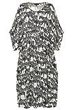 Ulla Popken Damen große Größen bis 62+ | Kaftan mit Zebra-Muster | V-Ausschnitt | Bindeband | überschnittene Schultern | Offwhite 58/60 716640 21-58+