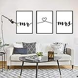Nordic Ideas Set de 3 Posters Mr et Mme Citation Murale Chambre Tableaux Décoration Peinture sur Toile Affiche Noir et Blanc Motivation Poster Deco Salon sans Cadre PTQT001-L