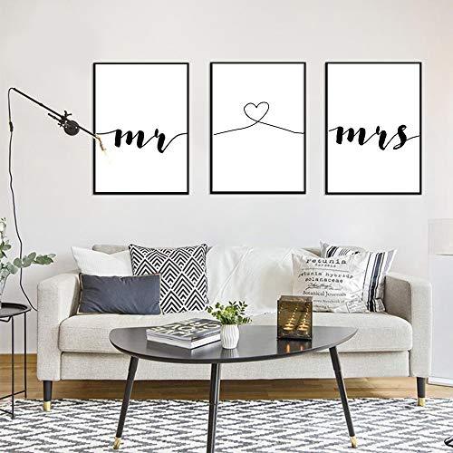 3 Cuadros Citas Mr y Mrs Letras Decoracion pared Salon Pintura Impresiones sobre Lienzo Blanco y Negro Hogar Sin Marco PTQT001-L