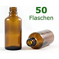 Braunglasflasche 50 ml DIN 18 ohne Verschluss, Glasflaschen, Apothekerflaschen, Tropfpipetten-Flaschen, Pipettenflaschen perfekt für Essenzen, Extrakte, Öle, Parfüme etc.