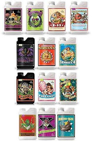Advanced Nährstoffe Zusätze Bundle–(Bud Ignitor, Big Bud, Overdrive, Voodoo Juice, Piranha, Vogelspinnen, B52, Nirvana, Rhino Haut, Bud Factor X, Bud Candy, Makelloses Finish & sensizym) 1 Liter