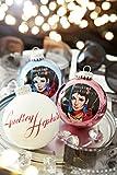 Krebs & Sohn Motiv-Weihnachtskugeln 3er Set - Christbaumkugeln aus Glas mit Aufdruck - Hollywood Filmstar - Blau, Weiß, Orchidee