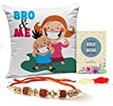 #2: TiedRibbons Rakhi for Brother with Gift Combo Printed Cushion(12 Inch X 12 Inch) with Rakhi and Roli Chawal pack