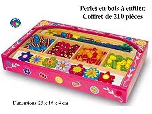 Equilibre et Aventure Coffret de Perles colorées en Bois. 210 pièces pour Bijoux à Enfiler. Livraison Gratuite.