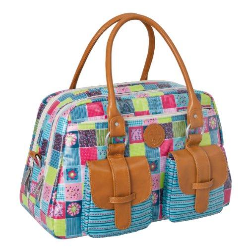 LÄSSIG Baby Wickeltasche Babytasche Kliniktasche Stylische Tasche Mama inkl. Wickelzubehör/Vintage Mero Bag, Flower Quilt (Quilt Tasche)