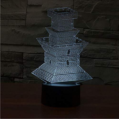 Vision Led 3D Château Modélisation Lampe De Table Décor À La Maison Tour Appareils De Construction Usb 7 Couleurs Changer Bébé Sommeil Night Light Cadeaux