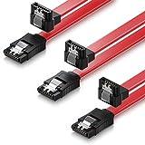 deleyCON Set - 3X [0,5m] S-ATA 3 Winkel-Kabel - Premium SATA 3 HDD/SSD Datenkabel mit Clip - 1x Stecker Gerade zu 1x Stecker 90° - Übertragungsraten bis zu 6 GBit/s - Länge: 50cm / Farbe: Rot