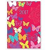 2017agenda de bolsillo con vista semanal, de moda pequeña–Rojo Diseño de mariposas