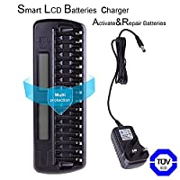 New-GO Smart Fast Battery Charger with LCD Display & 16 Slots For Ni-MH Ni-CD AA AAA Rechargeable Battery Charger,Intelligent and Universal 16 Bays/Banks Rechargeable Cells Charger (Batteries Not Included)
