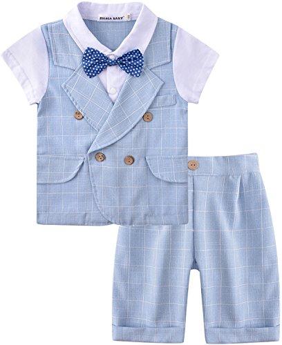 """ZOEREA Baby Junge Anzug 2 tlg Gentleman Kleidung kurzen Ã""""rmeln mit Bowtie"""