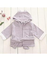 NaXinF peignoirs para niños algodón niños Infantil niño Niña hipopótamo algodón con Tapa de Historieta Albornoz
