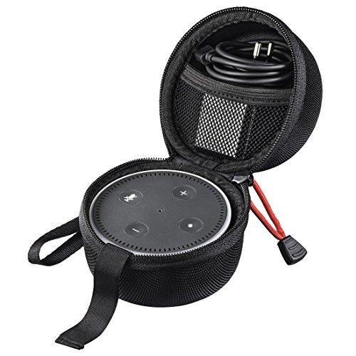 Hama Tasche für Amazon Echo Dot, 2. Generation (Transport Tragetasche inkl. Gurt und Netzfach, aus EVA-Material) Schutzhülle/Case schwarz (Alexa Tasche)