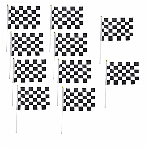 10x Milopon Flagge Fahne Karo schwarz / weiß Start / Ziel 14 x 21 cm (Ziel 10)