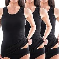 HERMKO 1325 Kit de Tres Camisas Interiores para Mujer, Hechas de algodón 100% Tank Top en Talla Grande