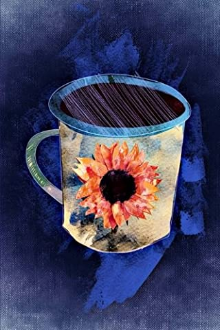Lovely Blue Coffee Cup with a Sunflower Design Illustration Art Journal: 150 Page Lined Notebook/Diary