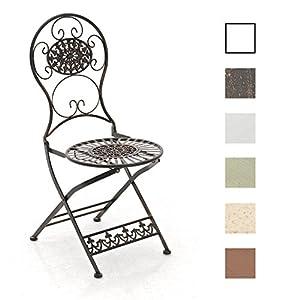 CLP Eisen-Klappstuhl MANI Vintage I Antiker handgefertigter Gartenstuhl aus Eisen I erhältlich, Farbe:antik-grün
