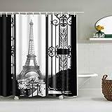 LANDUM Duschvorhang Vintage Eiffelturm Paris Stoff wasserdicht Badezimmer Dekor 71 Zoll - 71Inch×71Inch
