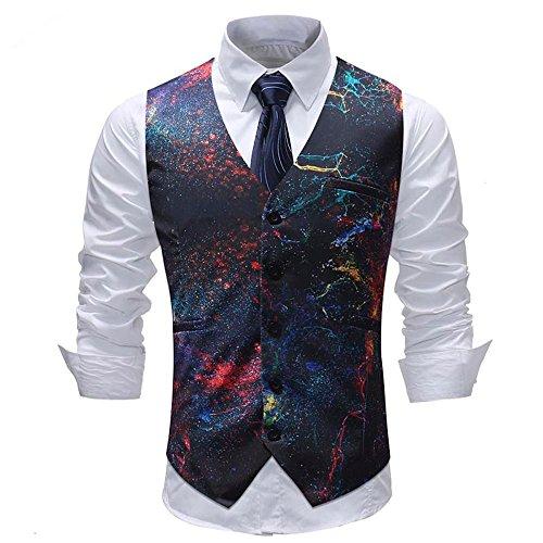 Sannysis Anzugweste Herren Herbst Winter Freizeit Bunter Druck Anzug Weste Slim Fit Elegant Weste Jacke Suits - Lurex Western Shirt