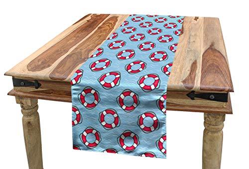 ABAKUHAUS Wasserblau Tischläufer, Rettungsringe im Ozean, Esszimmer Küche Rechteckiger Dekorativer Tischläufer, 40 x 180 cm, Hellblau Weiß Rosa