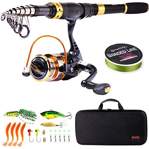 Sougayilang Teleskop-Angelrute mit Spinnrolle, tragbar, für Reisen, Salzwasser, Süßwasser-Angeln, Fishing Full Kits with Carrier Case, 2.1M/6.89Ft -
