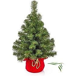artplants.de Mini Sapin de Noël Artificiel VARSOVIE, Vert, Rouge, 60cm, Ø 40cm - Arbre de Noël Plastique - Sapin Artificiel PVC