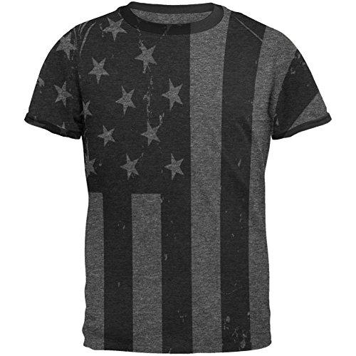 4. Juli Black And White American Flag Herren Ringer T Shirt Heather Black