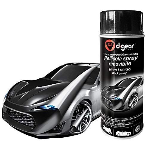 Vernice Pellicola Spray RIMUOVIBILE Removibile Wrapping D Gear 400ml + 1 Adesivo da pc Ricambi Auto Europa Gratis (Nero Lucido)