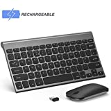 Wireless Keyboard and Mouse, seenda Low Profile Small Rechargeable Keyboard and Mouse Combo with Aluminium Base for Windows Devices, Space Grey