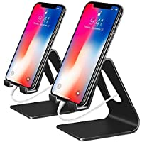 Phone Stand, 2 Pack Cell Phone Stand Universal Mobile Phone Stand Desktop Cradle Holder for Tablet Smartphone Dock Compatible Phone XR XS Max X 8 7 6 6s Plus 5s 5c 4s, Accessories, Desk-Black