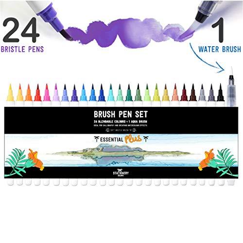 Stationery Island Pinselstifte 24 Farben + 1 Wasserpinsel - Wiederauffüllbare Aquarell Brush Pens Mit Echter Pinselspitze. Für Kalligraphie, Beschriftung, Bullet Journal, Zeichnen & Farbgestaltung