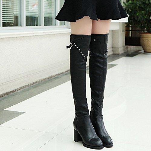 WIKAI Donna stivali Comfort PU Autunno Inverno Abbigliamento Casual rivetto Chunky Heel Nere 1A-1 3/4in,Black,US5.5 / EU36 / UK3.5 / CN35 Black
