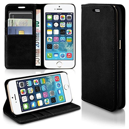 Caso casual per il iPhone 5 / 5S / SE | caso conveniente con slot per schede e la funzione del basamento | Sacchetto di protezione di custodia OneFlow | Copertura di vibrazione in Onyx
