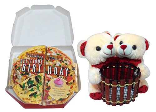 Natali Birthday Gift Combo - Couple Pen Stand Teddy with Pizza Themed Birthday Card