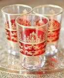 Set di bicchieri da tè marocchini in vetro, colore rosso