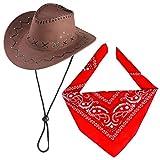 Beefunny Cappello da Cowboy con Accessori da Cowboy - Set da Sceriffo Occidentale Set da Regalo con Fascia in Bandana di per Bambini Ragazzi (caffè)
