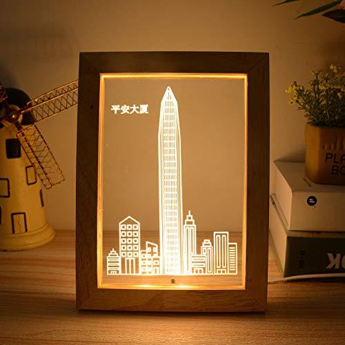 Lucia 1 Licht (BedolioUSB luz de noche lámpara de marco de fotos de regalo de madera maciza Lucía madera roble álbum 3D lámpara de mesa, 1)