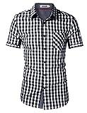 KoJooin Herren Kariertes Hemd Slim Fit Kurzarmhemd - 100% Baumwolle XL