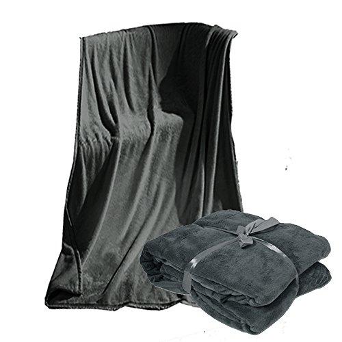 JEMIDI microfibre Plaid couverture XL Taille XXL 220 x 240 cm Canapé Couvre-lit Couvre-lit wohn, Microfibre, gris, 220 x 240 cm