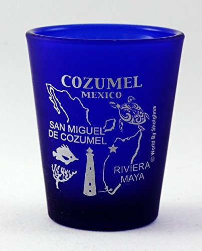 Cozumel Glas (Cozumel Mexico Cobalt Blue Frosted Shot Glass by World By Shotglass)