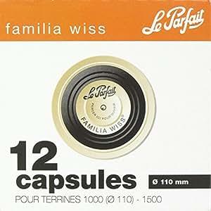Capsules pour terrine Familia Wiss Le Parfait - Noire - Diamètre 110 mm - 12 paquets de 12