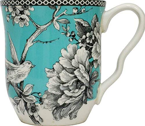 222 Fifth Adelaide Becher aus Porzellan für Kaffee, Tee, Latte, Türkis, 4 Stück - 222 Fifth Dinnerware