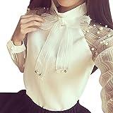 Felicove Damen Herbst Bluse, Schnürung Durchsichtig Weiß Langarm T-Stücke Slim-Fliege Shirt Top Bluse O-Ausschnitt Oberteile Basic Blusenshirt Locker Streetwear Oberteile Winter Hemden