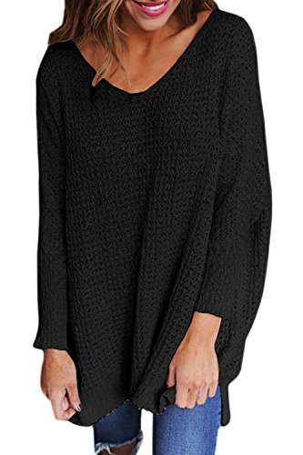 Un Pull Baggy V Au Cou Des Femmes Se Tricoter Cardigan Pulls Maxi Black