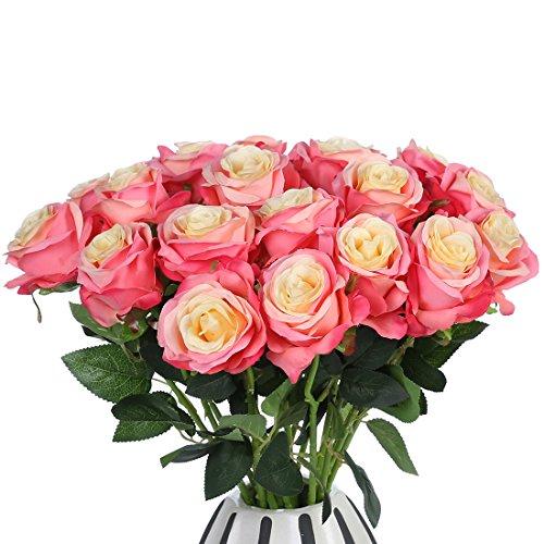 JUSTOYOU 10 Pack Seide Künstliche Rose Blumen Brautstrauss Blumen(Pink)