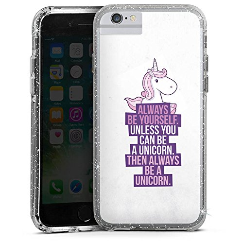 Apple iPhone 6 Bumper Hülle Bumper Case Glitzer Hülle Einhorn Unicorn Sayings Bumper Case Glitzer silber